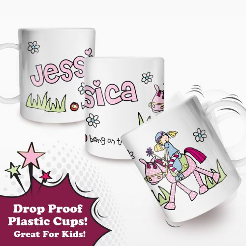 Personalised Bang on the Door Pony Girl Plastic Cup